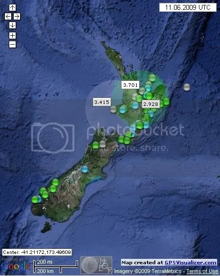 New Zealand Earthquakes June 11th 2009