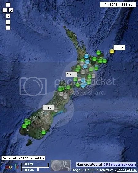 New Zealand Earthquakes June 12th 2009