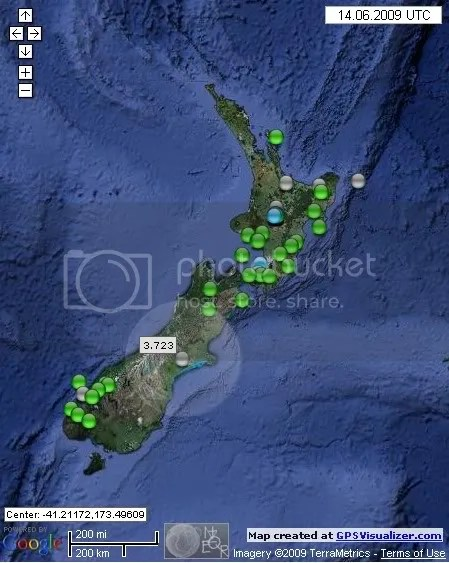 New Zealand Earthquakes June 14th 2009