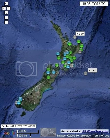 New Zealand Earthquakes June 19th 2009
