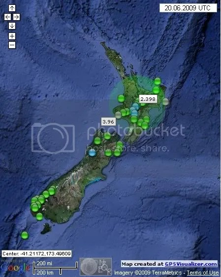 New Zealand Earthquakes June 20th 2009