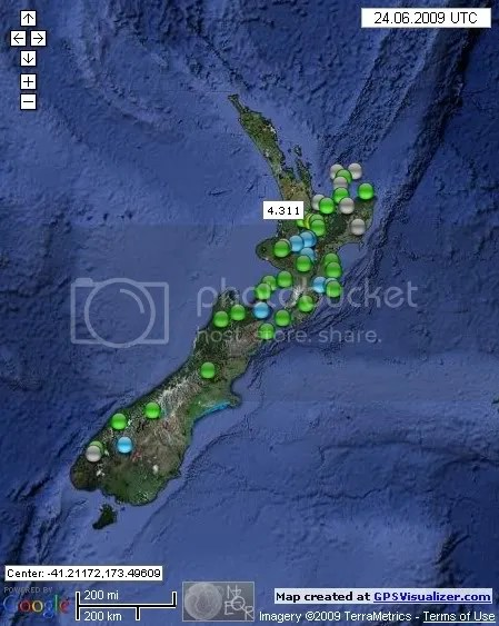 New Zealand Earthquakes June 24th 2009