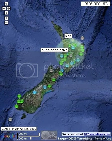 New Zealand Earthquakes June 25th 2009