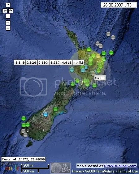 New Zealand Earthquakes June 26th 2009