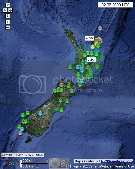 New Zealand Earthquakes June 2nd 2009