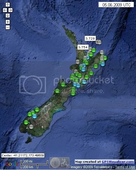New Zealand Earthquakes June 5th 2009