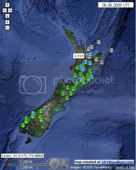 New Zealand Earthquakes June 6th 2009