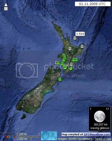 New Zealand Earthquakes 1 November 2009 UTC