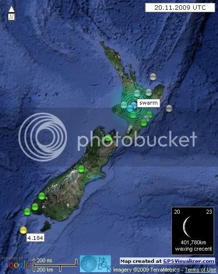 New Zealand Earthquakes 20 November 2009 UTC