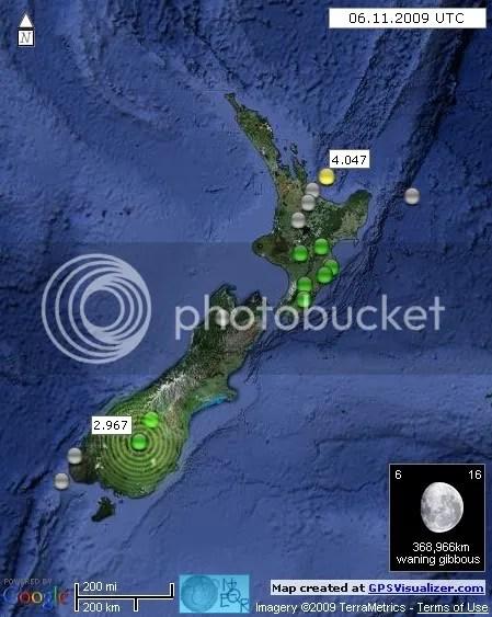 New Zealand Earthquakes 6 November 2009 UTC