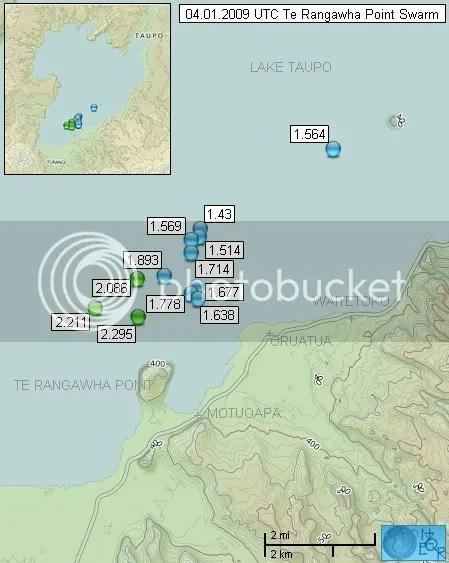 Jan 4th 2009 Lake Taupo Swarm Map