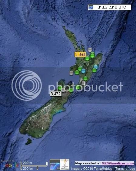 New Zealand Earthquakes 1 February 2010 UTC