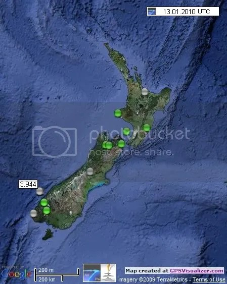 New Zealand Earthquakes 13 January 2010 UTC