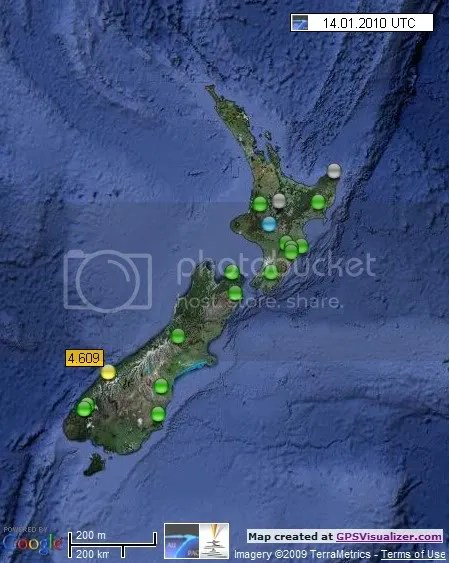 New Zealand Earthquakes 14 January 2010 UTC