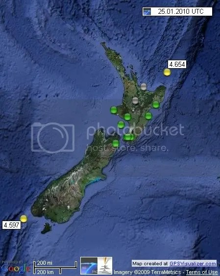 New Zealand Earthquakes 25 January 2010 UTC