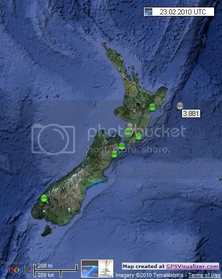 New Zealand Earthquakes 23 February 2010 UTC