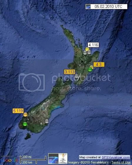 New Zealand Earthquakes 5 February 2010 UTC