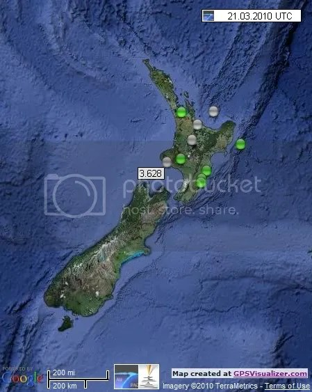 New Zealand Earthquakes 21 March 2010 UTC