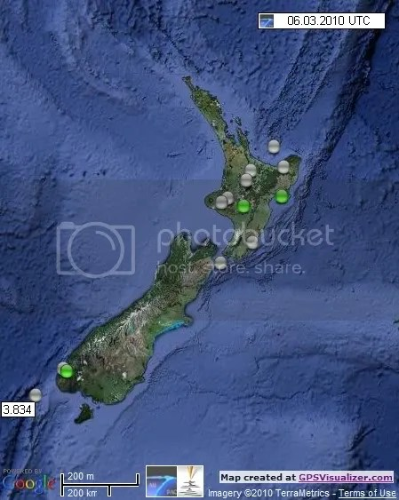 New Zealand Earthquakes 6 March 2010 UTC