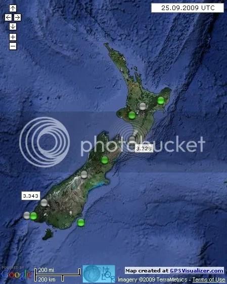 New Zealand Earthquakes September 25 2009 UTC
