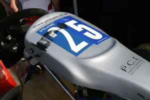 Shouldnt happen to a pole sitter - tyre marks on the front of Sams nassau panel