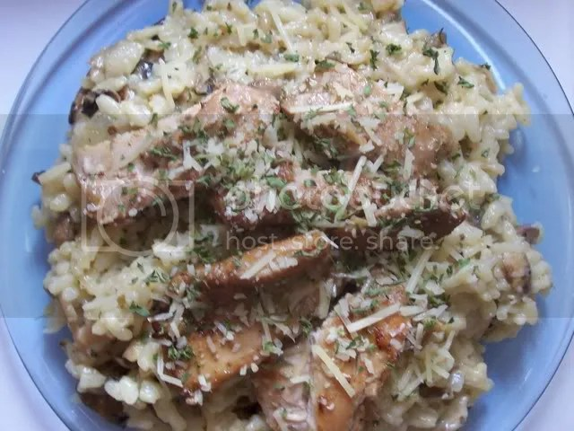 Mushroom Risotto with grilled chicken
