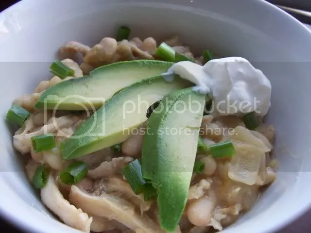 White Bean Chicken Chili with Avocado garnish