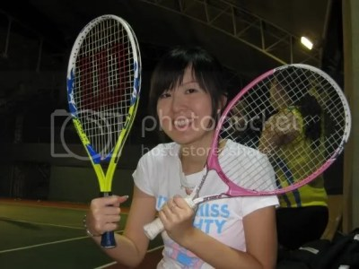 and we use 23 Kids racket to practise our swing! The normal racket is 27