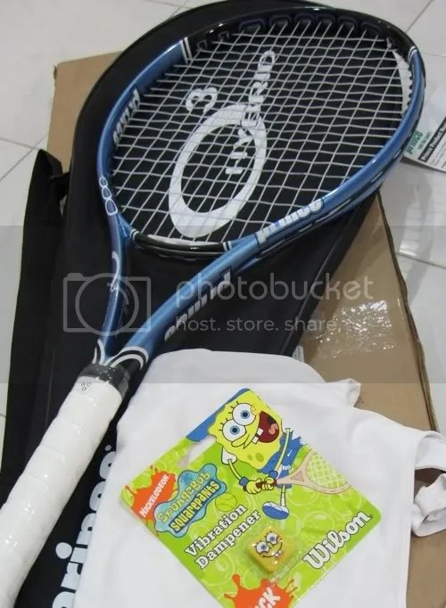 Prince Hybrid o3 Lite Tennis Racquet (Blue & Black), Reebok White tennis top, Spongebob dampener