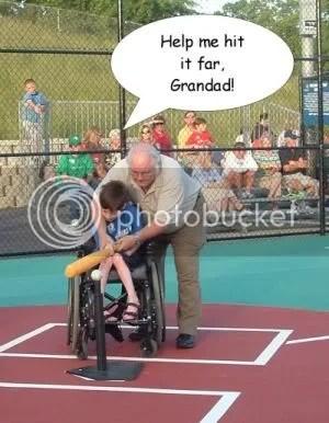 Grandad and Noah hitting