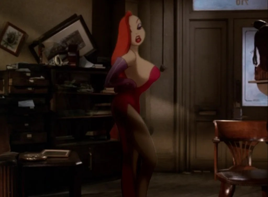 Kathleen Turner voices the eye-candy (not to mention, ear-candy) character Jessica Rabbit