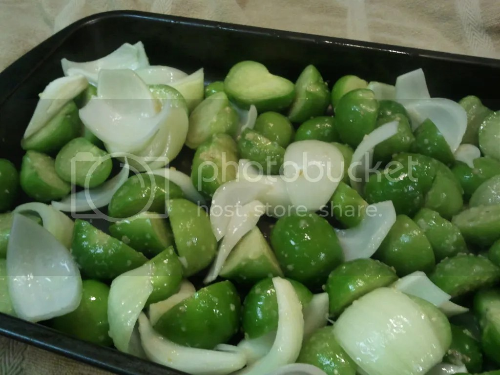 Chopped Onion and Tomatillos Tossed with Garlic  & Oil