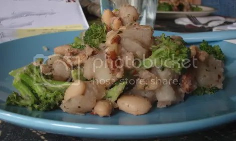 broccoli potato walnut plate