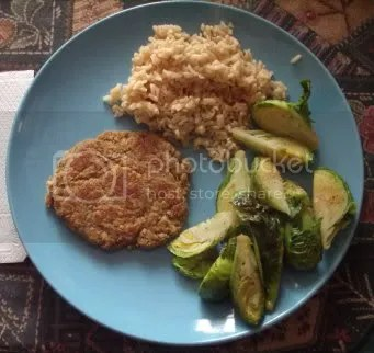 chickpea cutlet & roasted brussels sprouts