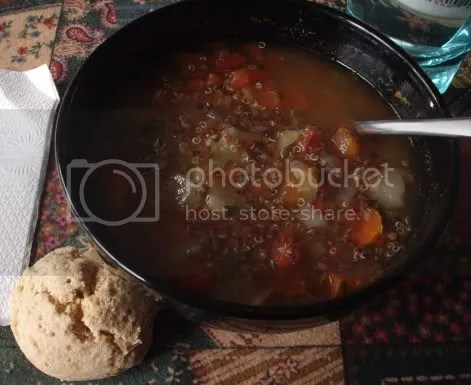 quinoa soup and biscuit
