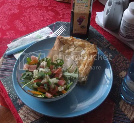 spanakopita served with salad