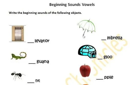 Beginning Vowel Sounds worksheet