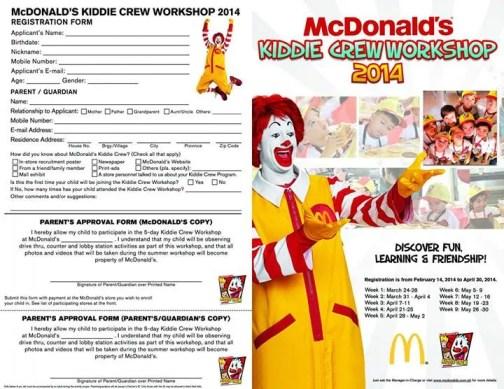 McDo Kiddie Crew Registration Form