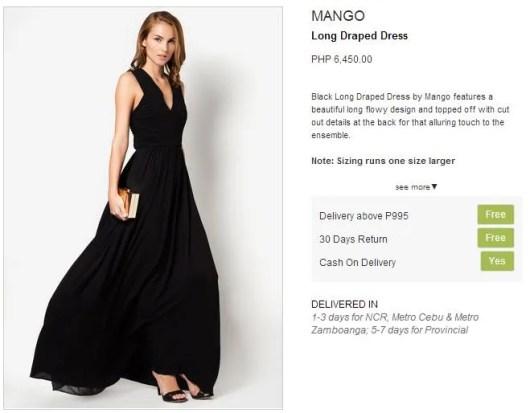 Mango Long Draped dress