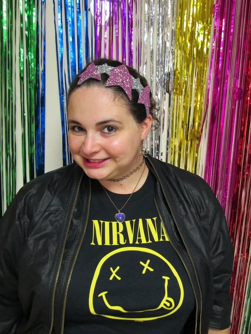 plus size outfit nirvana tee and leather jacket