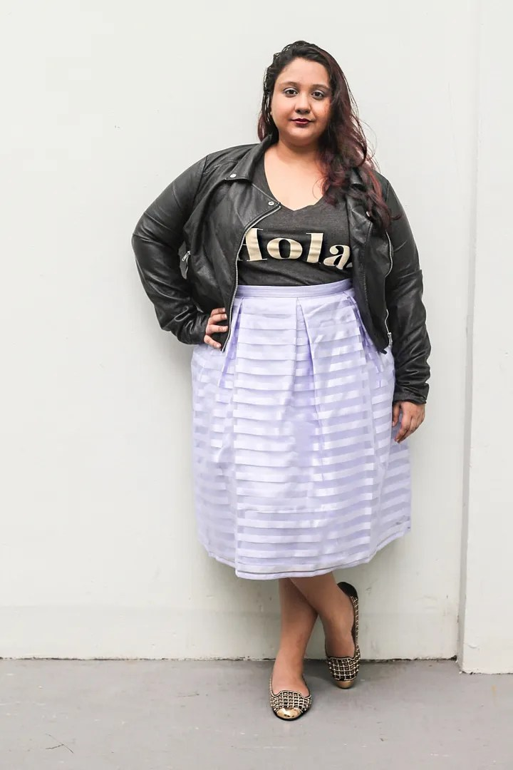 plus size outfit black t-shirt, black leather jacket, lavender sheer chiffon skirt