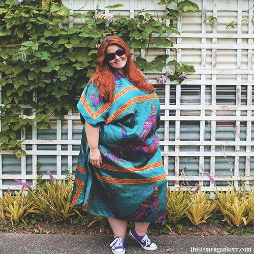 plus size outfit with blue and purple bohemian muumuu