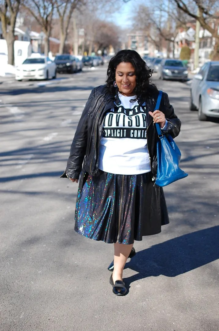 plus size outfit domino dollhouse metallic sparkly skirt and leather jacket