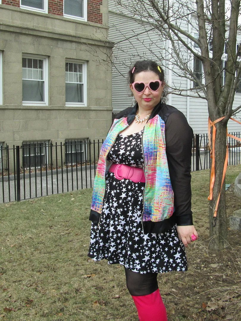 plus size 90s outfit with domino dollhouse and asos curve, rainbow digital jacket, pink velvet leggings, star skater dress