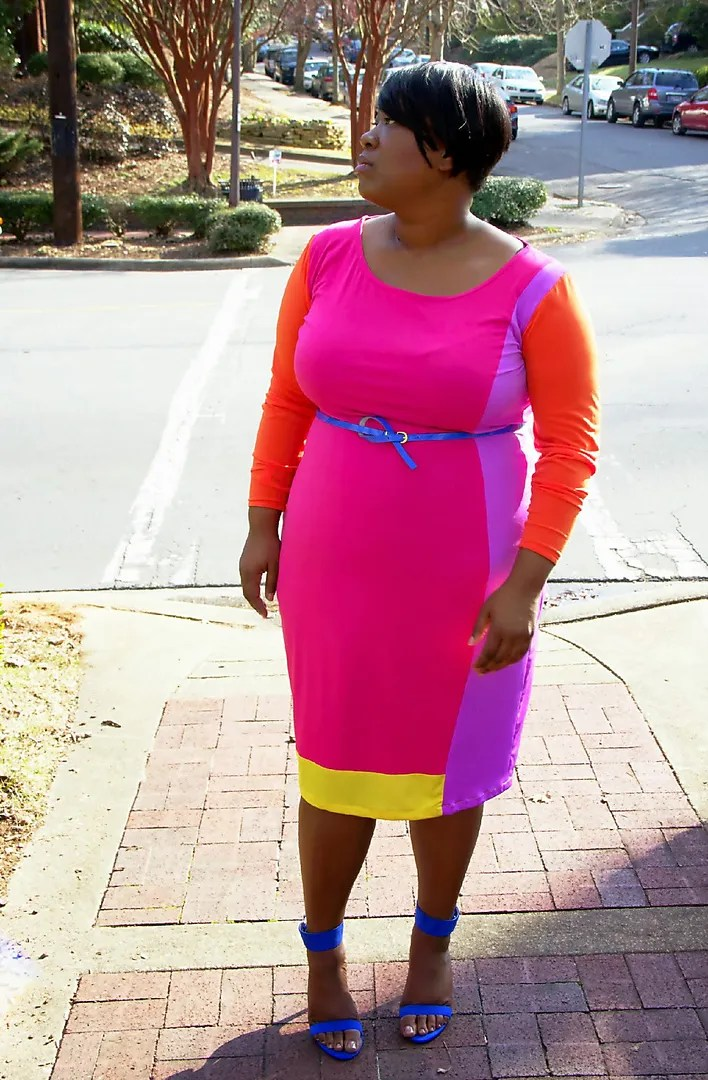plus size color blocking outfit with pink, purple, orange, and royal blue