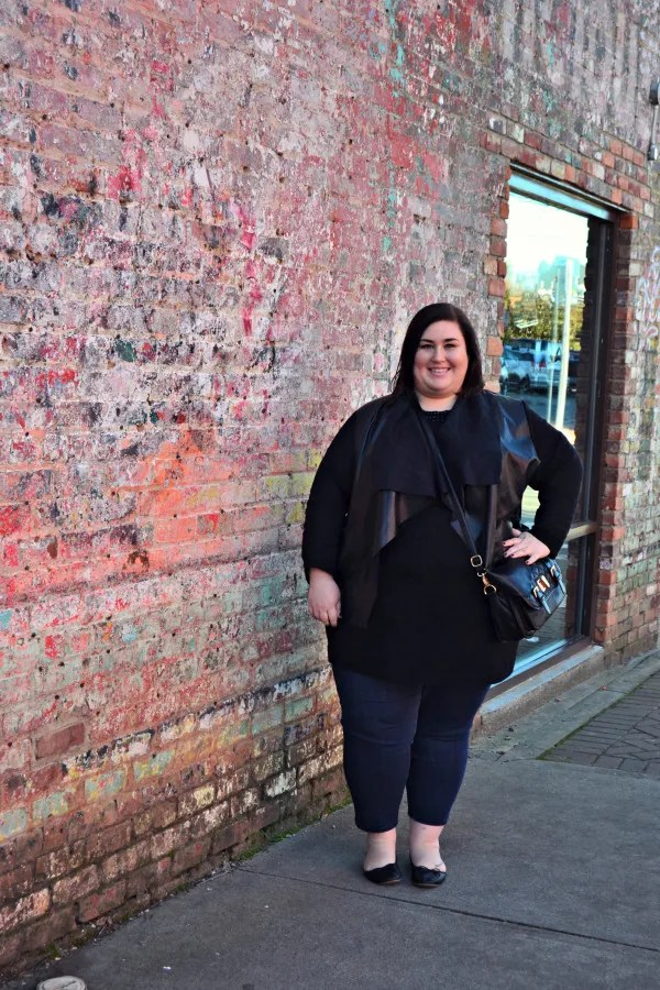 plus size outfit black top with leather cardigan and jeans