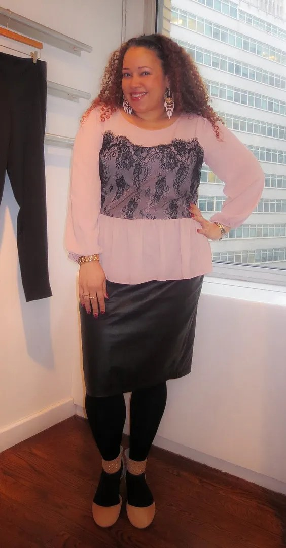black and pink lace plus size outfit