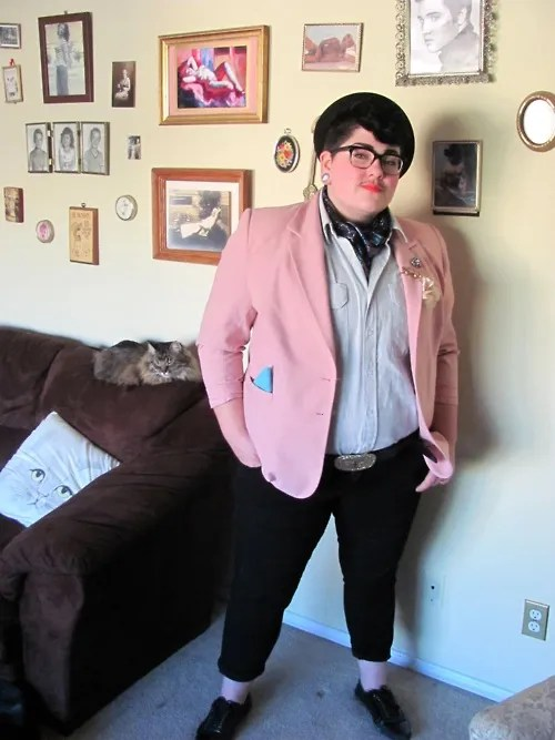plus size queer outfit with pink blazer, white button down shirt, and black pants