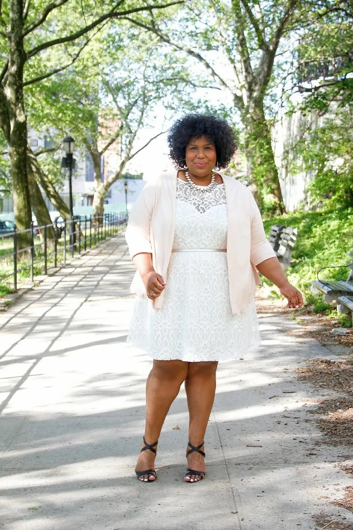 plus size outfit white lace dress, pale pink cardigan