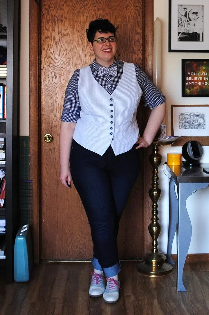 plus size dapper butch outfit with vest and bowtie